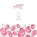 Romantic card design with hand painting roses and leaf made on gentle color. Suitable for wedding invitation. Royalty Free Stock Photo