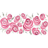 Romantic card design with hand painting roses and leaf made on gentle color. Suitable for wedding invitation. Stock Photo