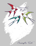 Romantic card with flying colorful swallows Stock Image