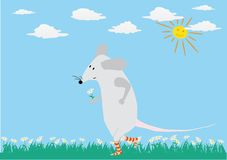 Romantic card with funny mouse. The mouse is going to the rendezvous Royalty Free Stock Image