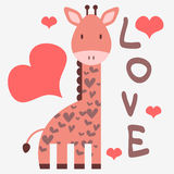 Romantic card with giraffe Stock Image