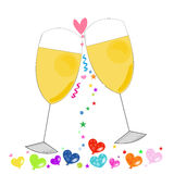 Romantic card with glass of wine vector background Stock Photography