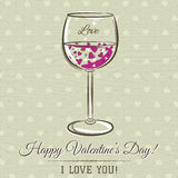 Romantic card with glass of wine and wishes text Stock Photo