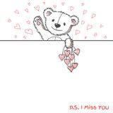 Romantic card with hand drawn cute bear. Romantic banner with hand drawn cute bear holding hearts. I miss you. Vector illustration royalty free illustration