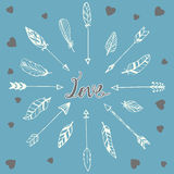 Romantic card with hand drawn doodle feathers, arrows and hearts Stock Photos