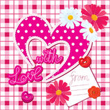 Romantic Card with heart and flowers Royalty Free Stock Image