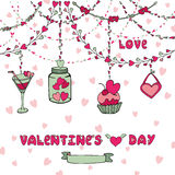 Romantic card.Heart garlands,lettering,decor Royalty Free Stock Photos