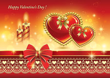 Romantic card with hearts and candles for Valentin Royalty Free Stock Photos