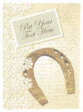 Romantic card with horseshoe Stock Photos