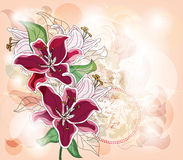 Romantic card with lilies Stock Image