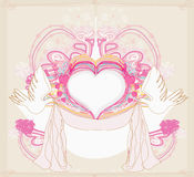 Romantic card with love birds Stock Images