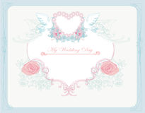 Romantic card with love birds - Wedding Invitation Stock Images