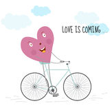 Romantic card Love is coming  Illustration for greeting cards, invitations, and other printing and web projects. Stock Images