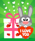 Romantic card with rabbit vector Stock Photography