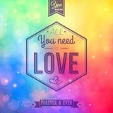 Romantic card on a soft blurry rainbow background. Vector image. Stock Photos