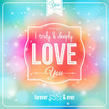 Romantic card on a soft fantasy background. Vector image. Background and lettering can be used together or separately Royalty Free Stock Photography