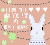 Romantic card with sweet white bunny character and love text. For Valentines day Royalty Free Stock Photos