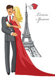 Romantic card,template.Kissing Couple,Eiffel tower Royalty Free Stock Photography