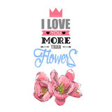 Romantic card with text and flowers. Stock Photos
