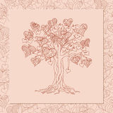 Romantic card with tree of love Royalty Free Stock Photo