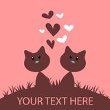 Romantic card with two cats Stock Images