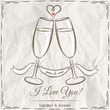 Romantic card with two glass of champagne and wishes text stock photography