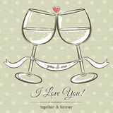 Romantic card with two glass of wine and wishes text Stock Image