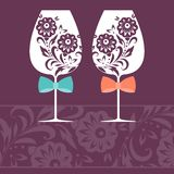 Romantic card with two glasses. Vector illustration Royalty Free Stock Photography