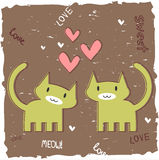 Romantic card with two kittens Stock Images