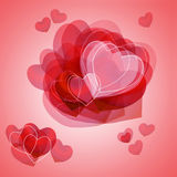 Romantic card for valentine s day-any red heart Stock Photography