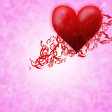 Romantic card for valentine s day.red heart Stock Photography