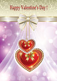 Romantic card for Valentines Day with hearts Stock Photography