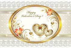 Romantic card for Valentines Day with hearts and f Stock Image