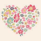 Romantic Card With Floral Heart Stock Photo