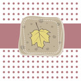 Romantic  card with yellow leaf. Vector  Royalty Free Stock Image