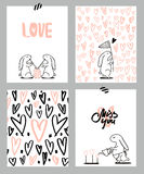 Romantic cards set. Four Valentine`s day cards with cute Rabbit and hearts. Vector Illustration. Stock Image