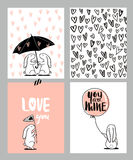 Romantic cards set. Four Valentine`s day cards with cute Rabbit and hearts. Vector Illustration. Stock Photos