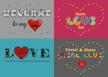 Romantic cards set with texts by artistic font Stock Image