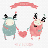Romantic cartoon card Royalty Free Stock Photo
