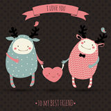 Romantic cartoon card with lovely monsters Royalty Free Stock Image