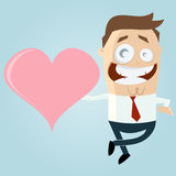 Cartoon man with big heart Stock Photos
