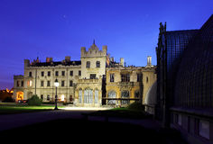 Romantic castle in Lednice. Night view royalty free stock photos