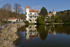 Romantic castle with reflection in the lake Royalty Free Stock Photo