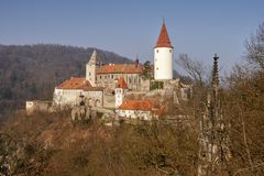 Romantic castle with tower. Central Bohemia royalty free stock images