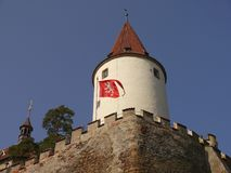 Romantic castle with tower. Central Bohemia royalty free stock photography