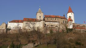 Romantic castle with tower. Central Bohemia stock image