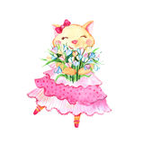 Romantic cat with bow in pink dress with bouquet of flowers  on white background. Royalty Free Stock Photos