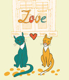 Romantic cats couple illustration Stock Photography
