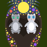 Romantic cats walking under the moon Stock Image