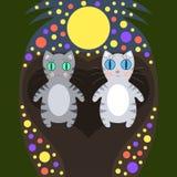 Romantic cats walking under the moon Stock Image